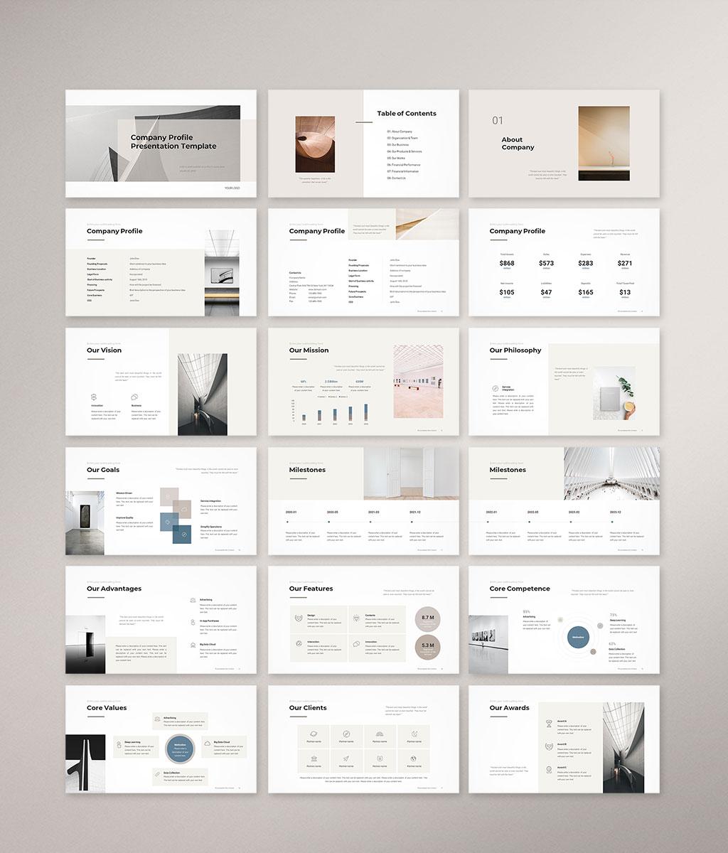 Company Profile Presentation Template Preview 001